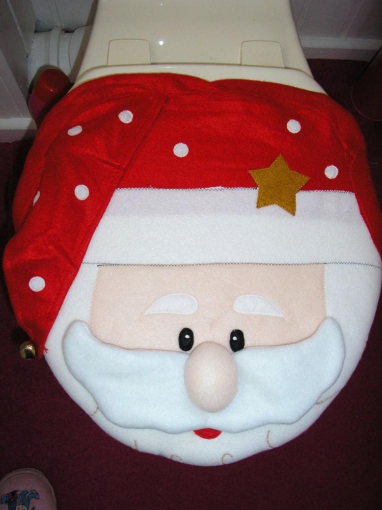 Christmas Toilet Seat  CHRISTMAS SANTA CLAUS TOILET SEAT COVER