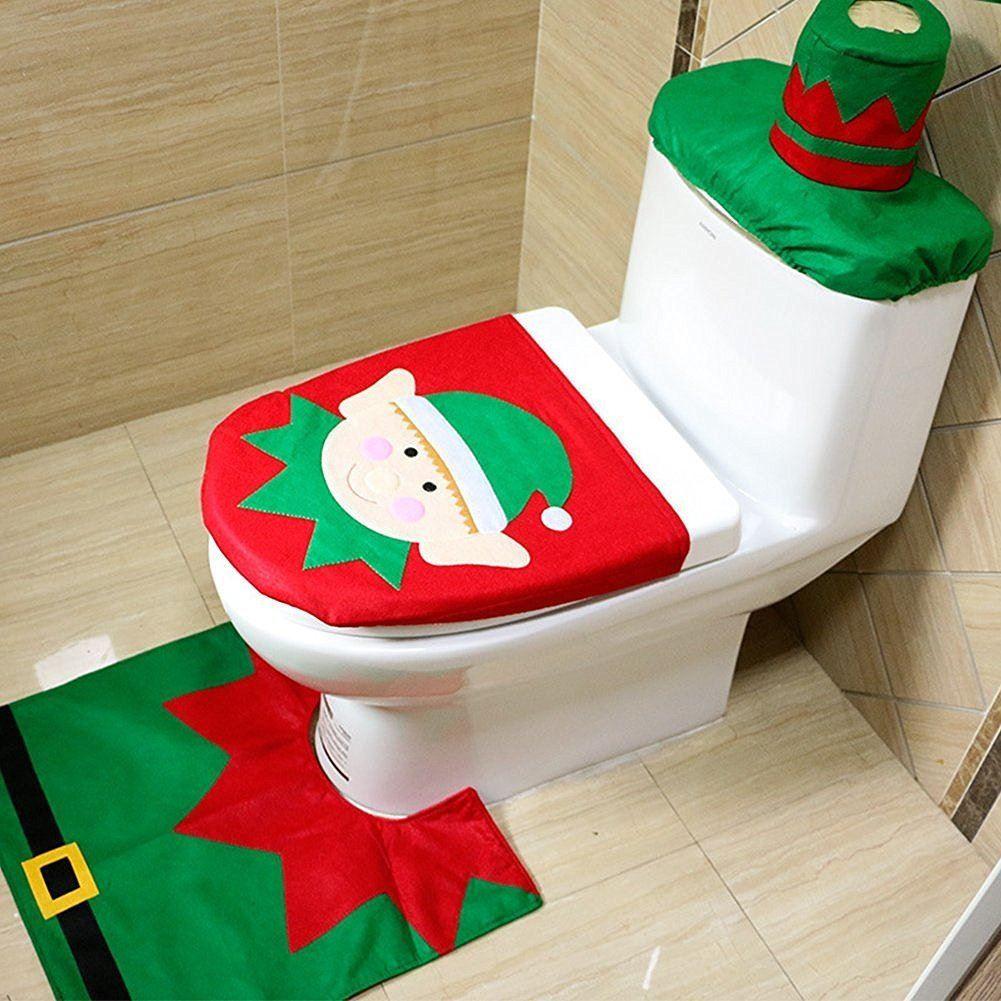 Christmas Toilet Seat  Christmas Xmas Decoration Toilet Seat Cover Set Santa Elf