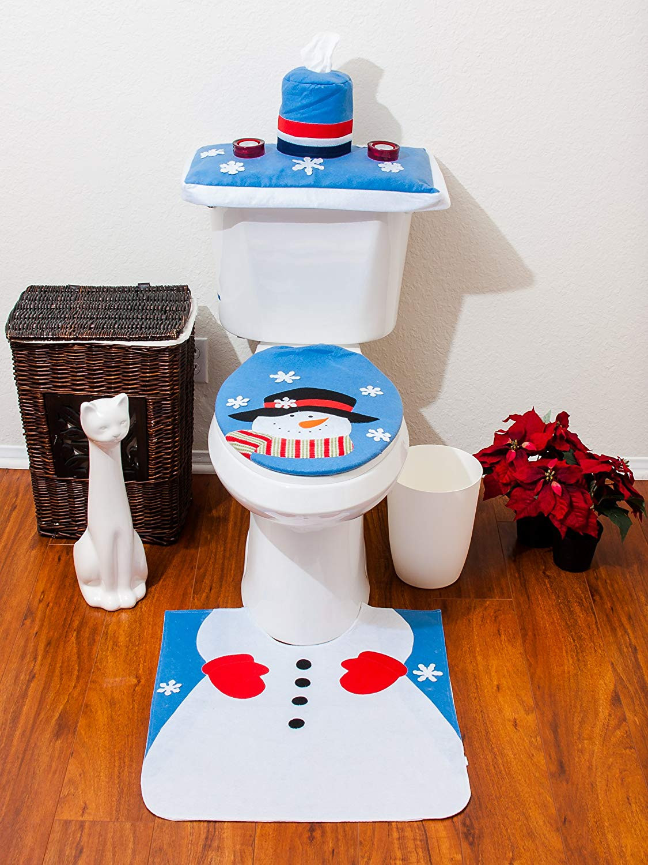 Christmas Toilet Seat  4 Pcs Christmas Santa Bathroom Toilet Seat Cover and Rug