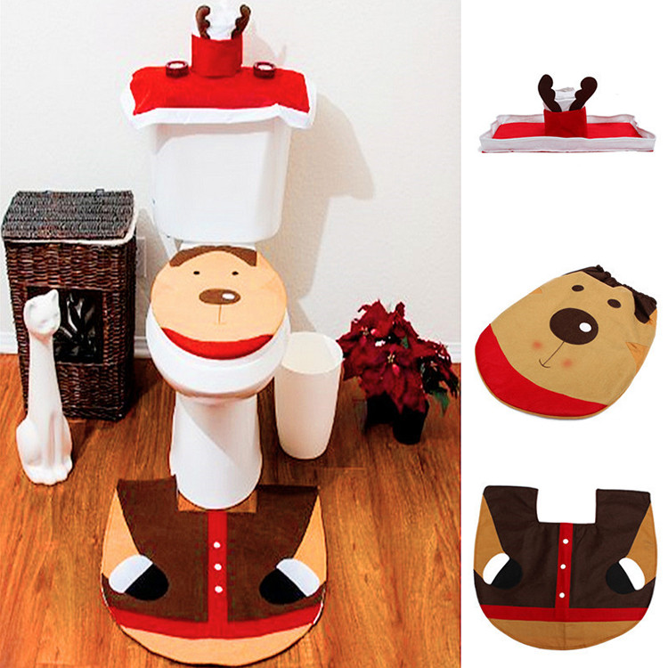 Christmas Toilet Seat  Christmas Reindeer Toilet Seat Cover Happy Santa