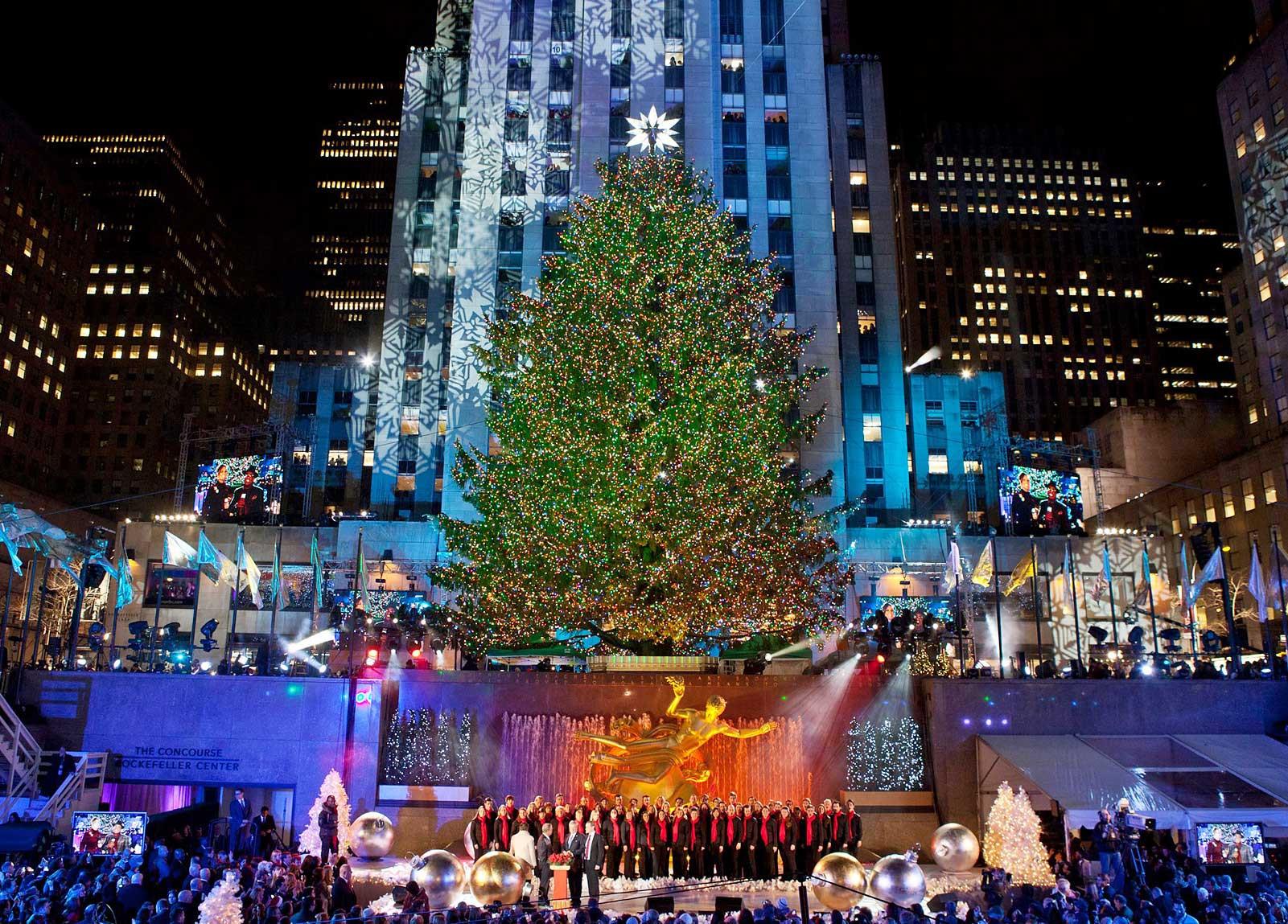Christmas Tree Lighting 2019  Christmas in New York 2019 Rockefeller Center Christmas Tree