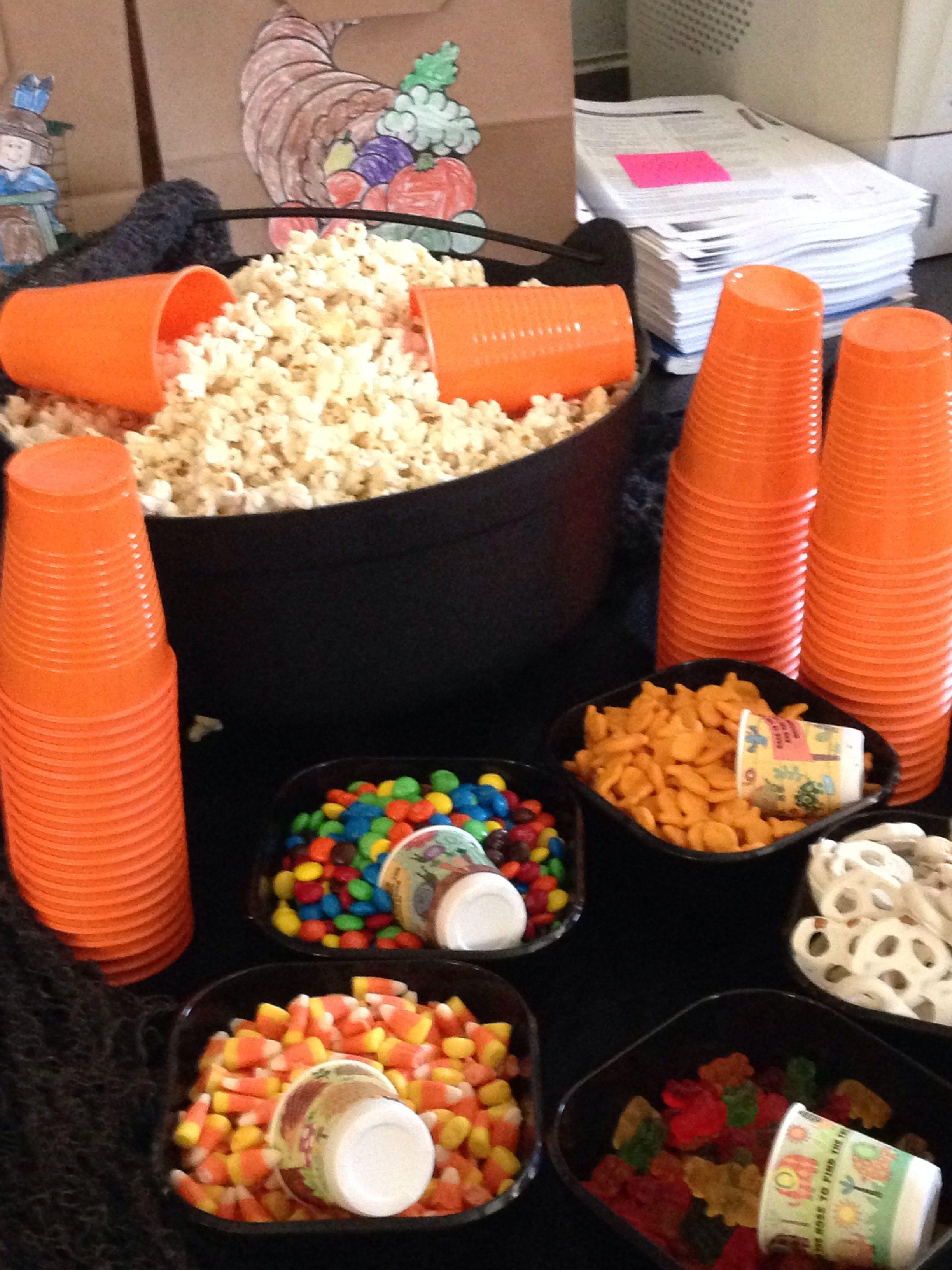 Church Halloween Party Ideas  Youth Movie Night La s Night Pop corn bar