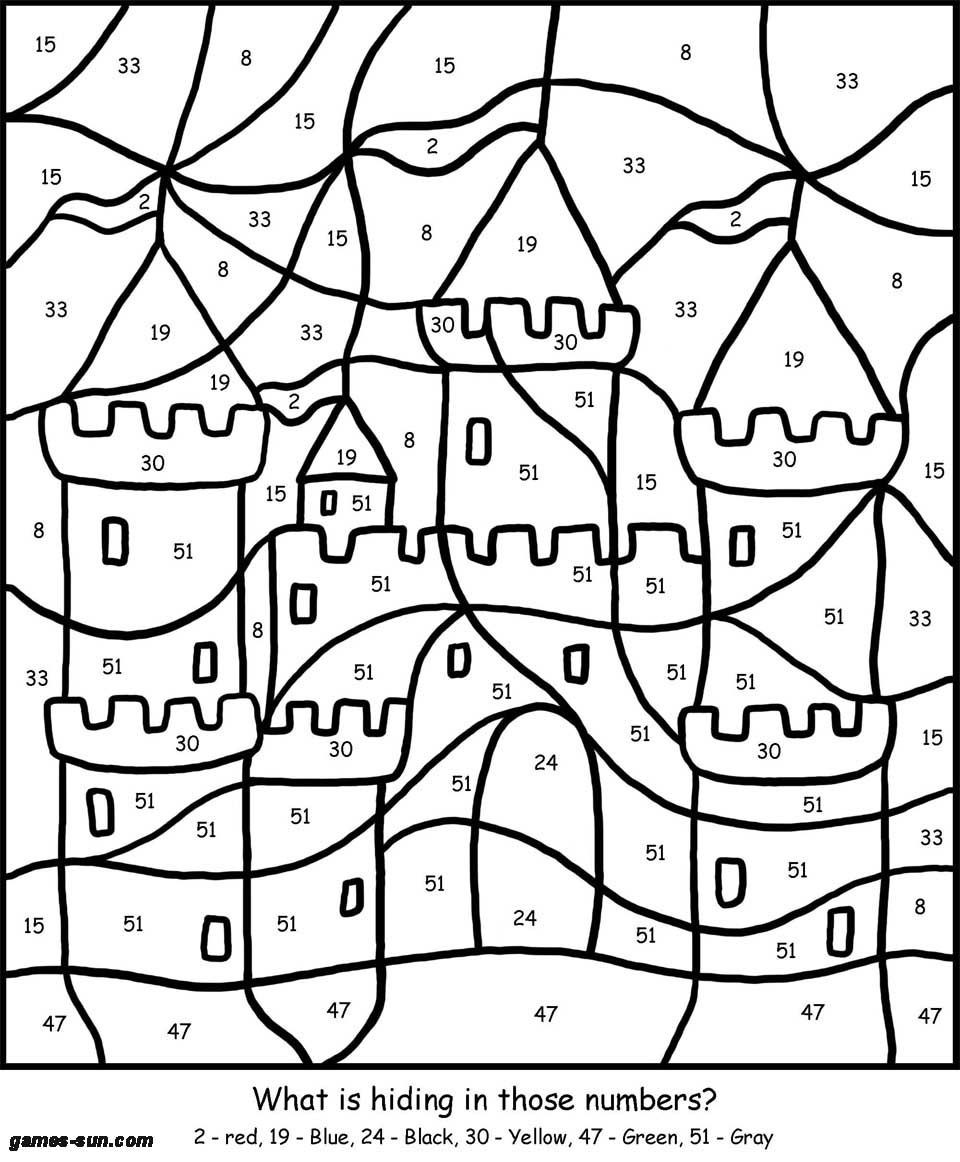 Coloring Pages For Kids Games  sand castle coloring by numbers games the sun