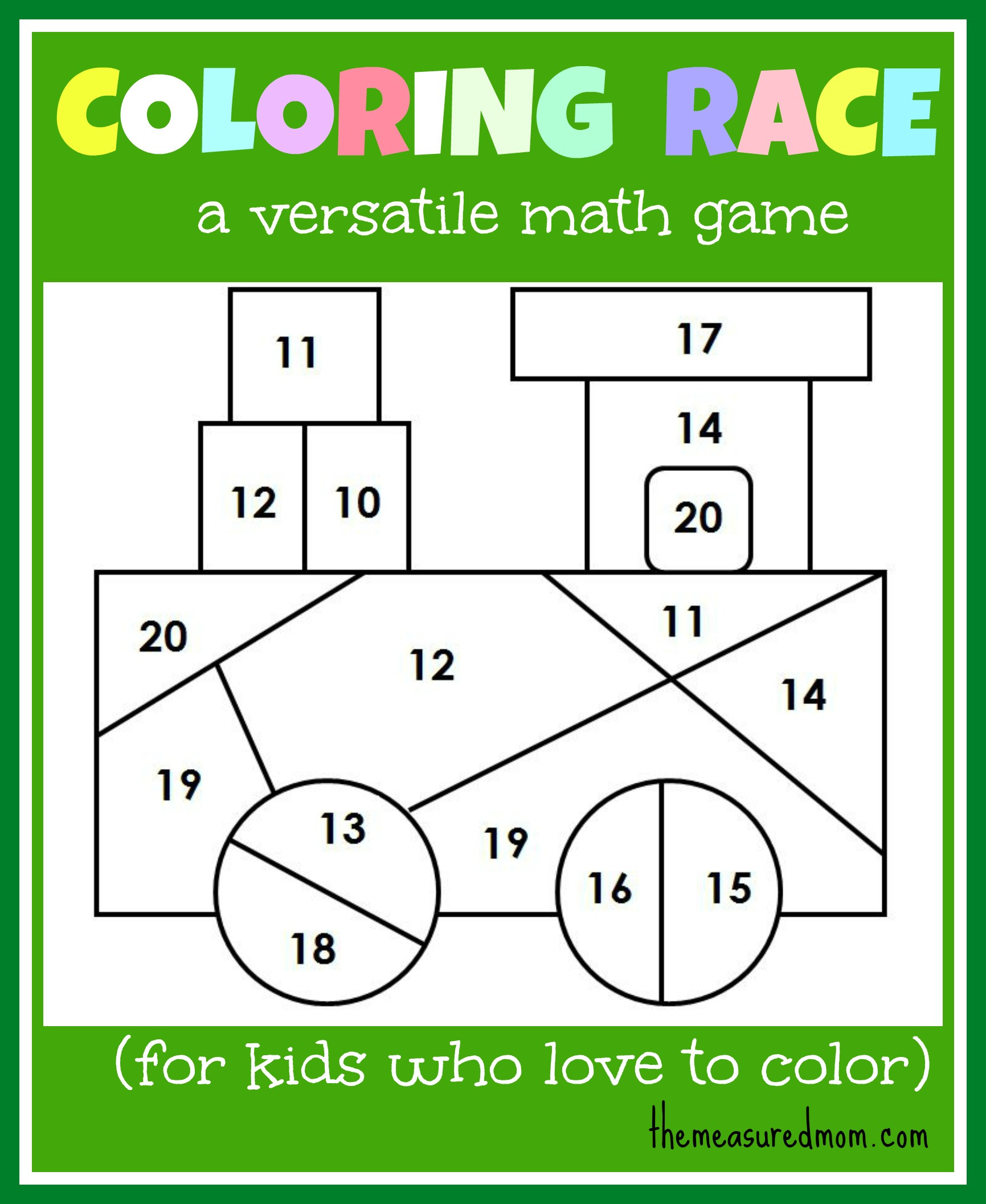 Coloring Pages For Kids Games  Math game for kids Coloring Race bines math and