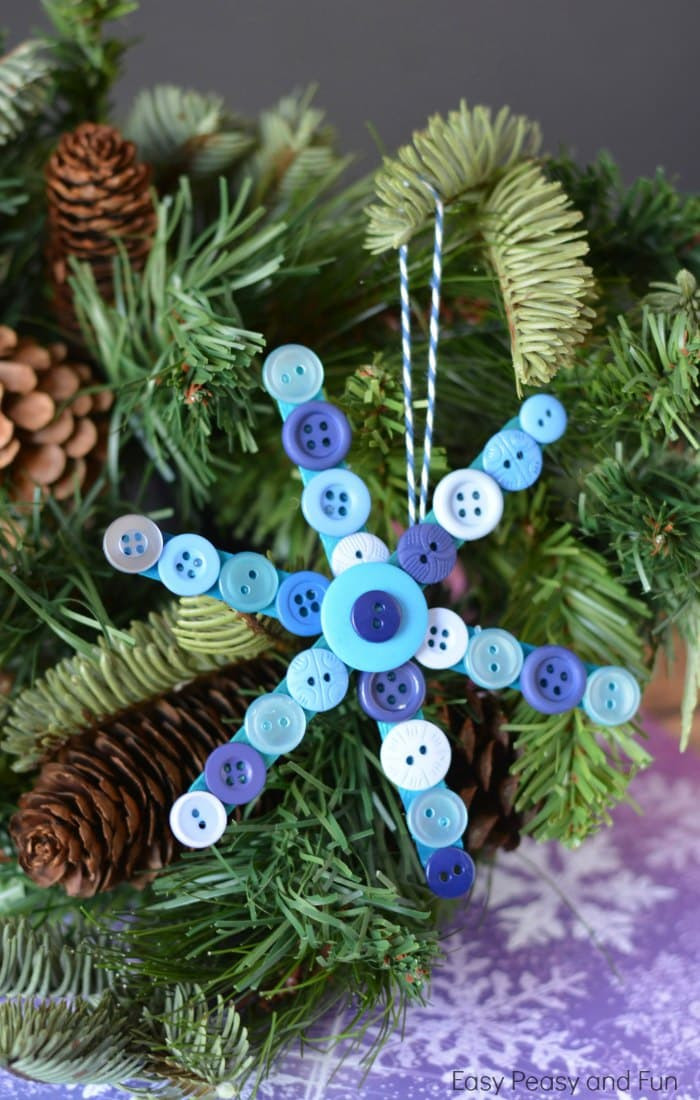 Craft To Make For Christmas  Craft Stick and Buttons Snowflake Christmas Ornament