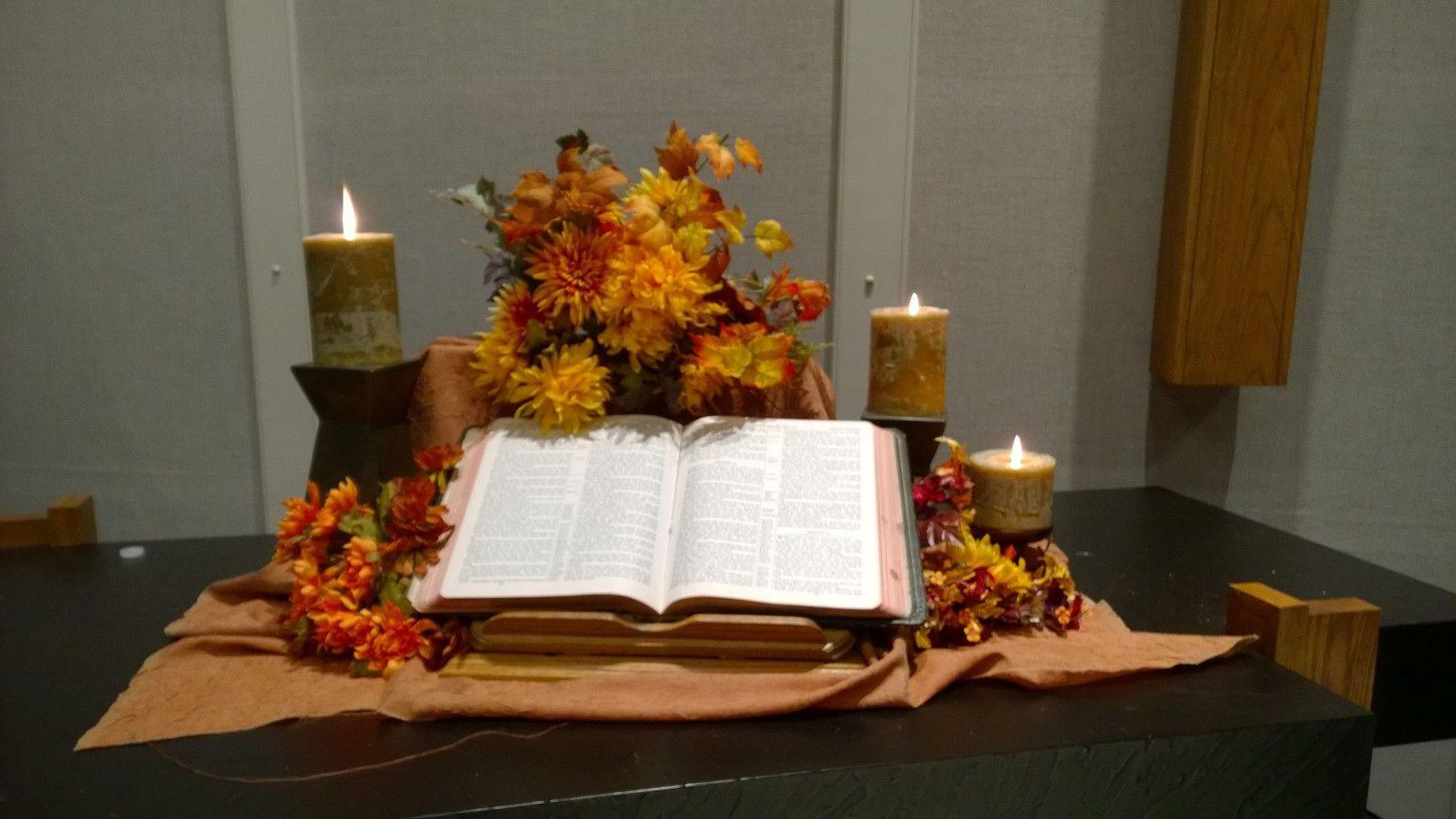 Creative Worship Ideas For Thanksgiving  Fall altar Sept 2014 Creative Worship