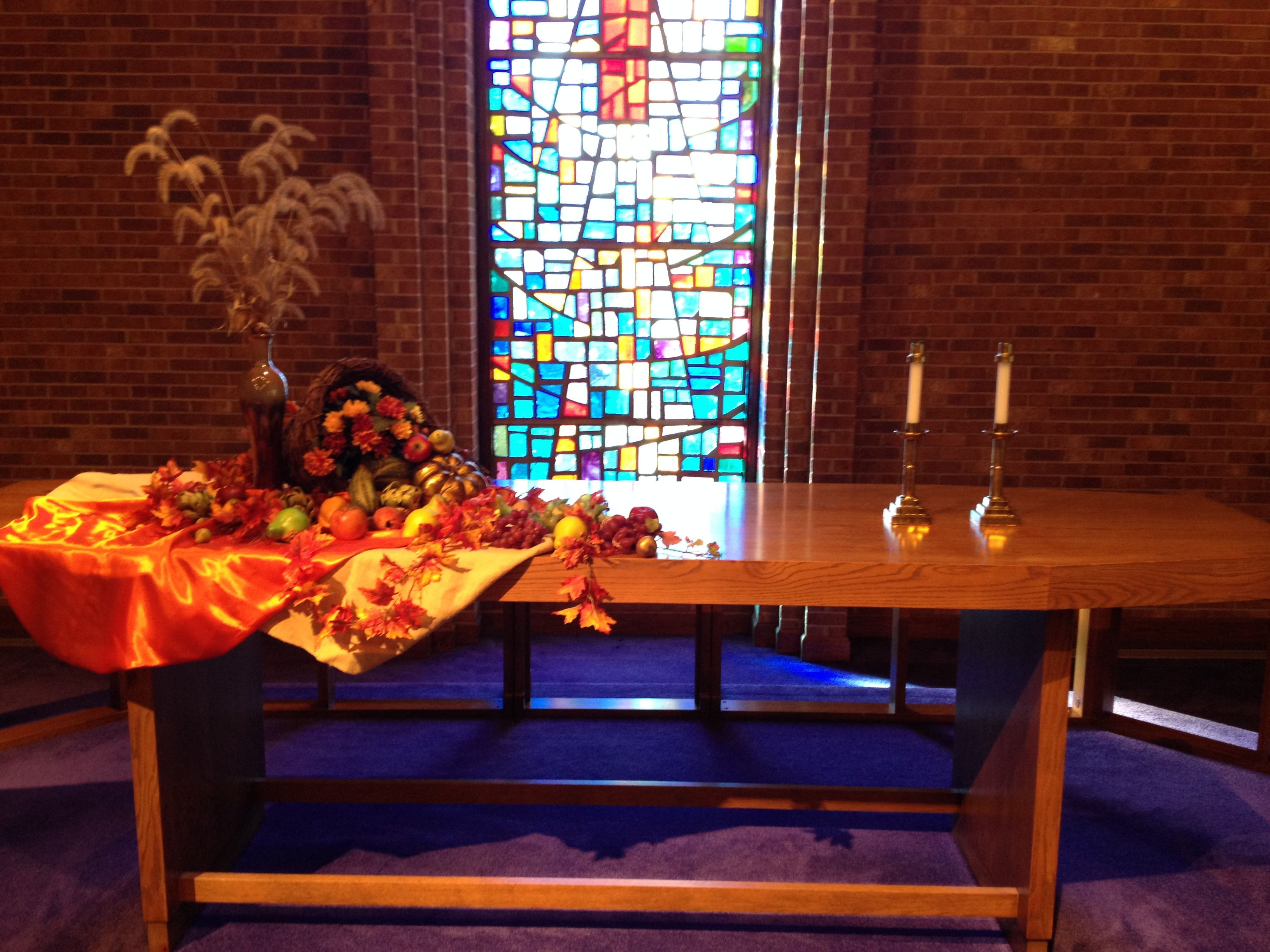 Creative Worship Ideas For Thanksgiving  thanksgiving altar table ideas