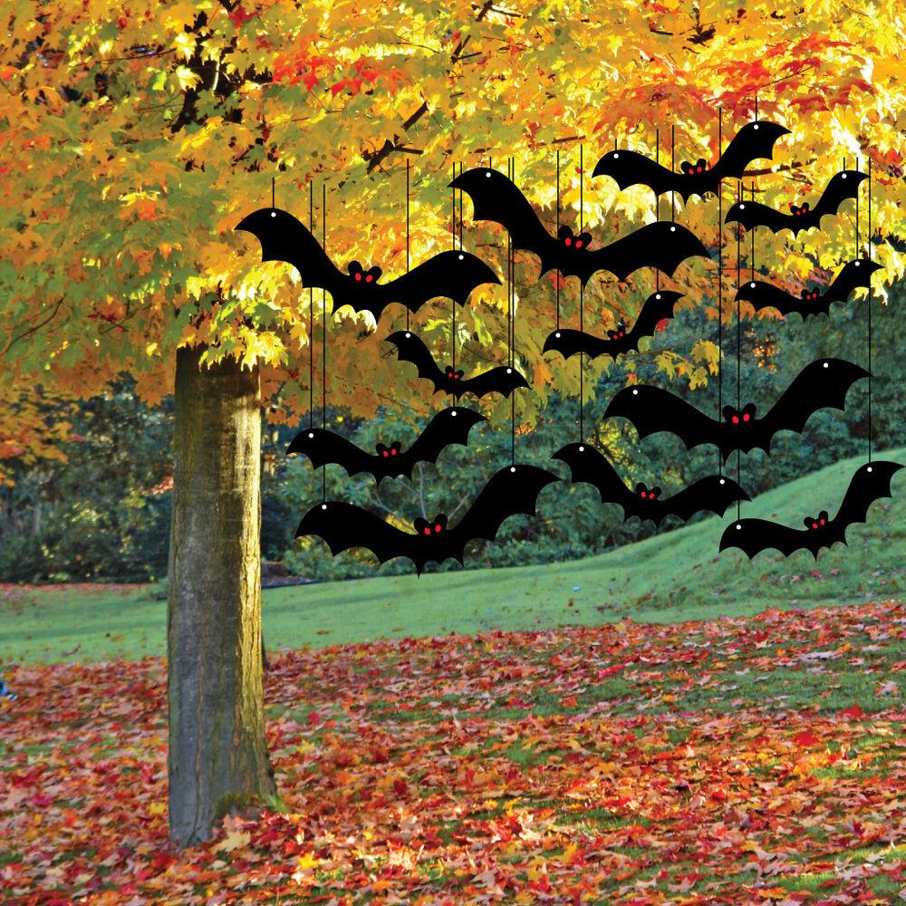 Creepy Outdoor Halloween Decorations  Scary Bat Halloween Yard Decoration Card Set 12pcs