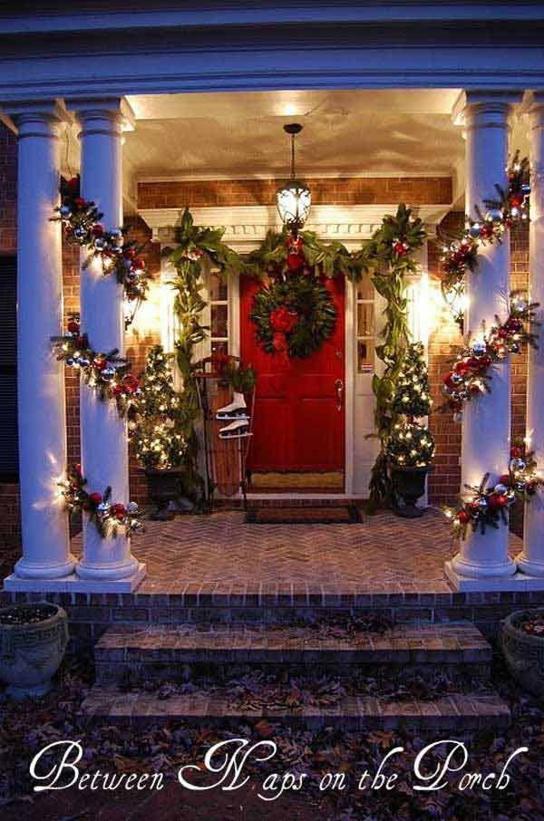 Decorate Front Porch For Christmas  40 Cool DIY Decorating Ideas For Christmas Front Porch
