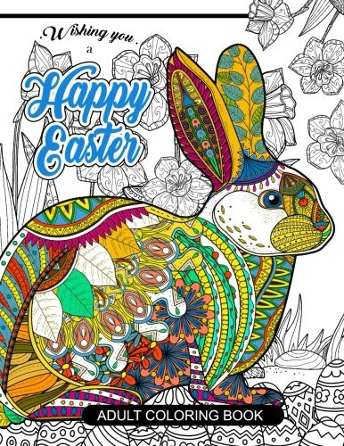 Discount Adult Coloring Books  Cheapest copy of Happy Easter Adult Coloring book Rabbit