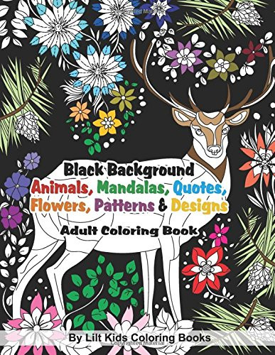 Discount Adult Coloring Books  Cheapest copy of Black Background Animals Mandalas