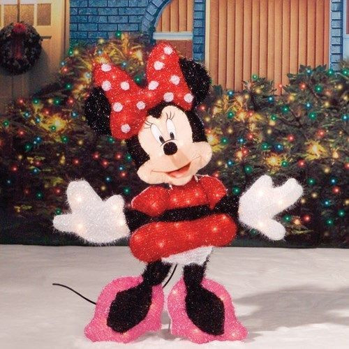 """Disney Outdoor Christmas Decorations  30"""" Lighted Minnie Mouse Disney Tinsel Christmas Outdoor"""