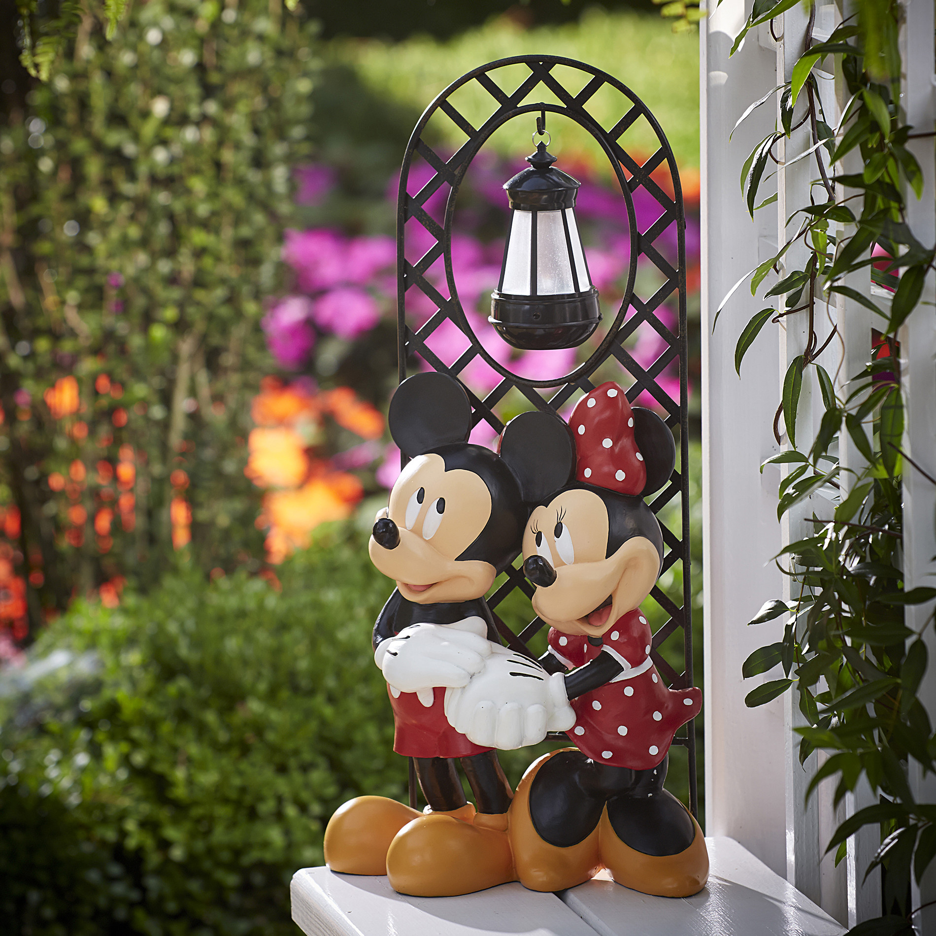 Disney Outdoor Christmas Decorations  Disney Mickey & Minnie with Arched Lattice Panel Limited
