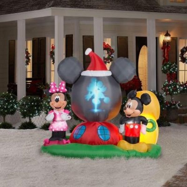Disney Outdoor Christmas Decorations  DISNEY 6 5 FT PROJECTION GLOBE CHRISTMAS INFLATABLE YARD