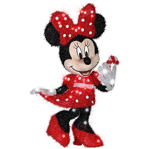 Disney Outdoor Christmas Decorations  Disney Minnie Mouse Pre Lit Tinsel Christmas Light 30 7