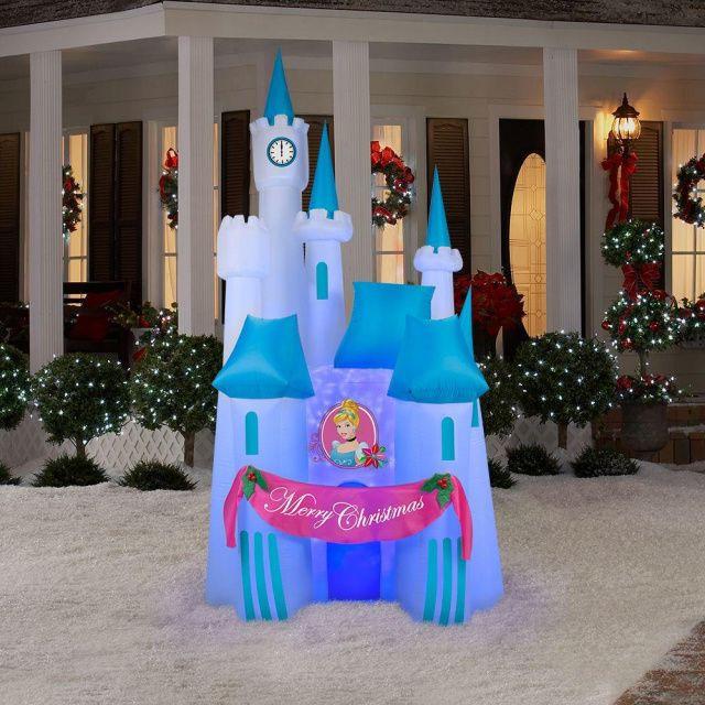 Disney Outdoor Christmas Decorations  Cinderella Castle Projection Kaleidoscope Holiday