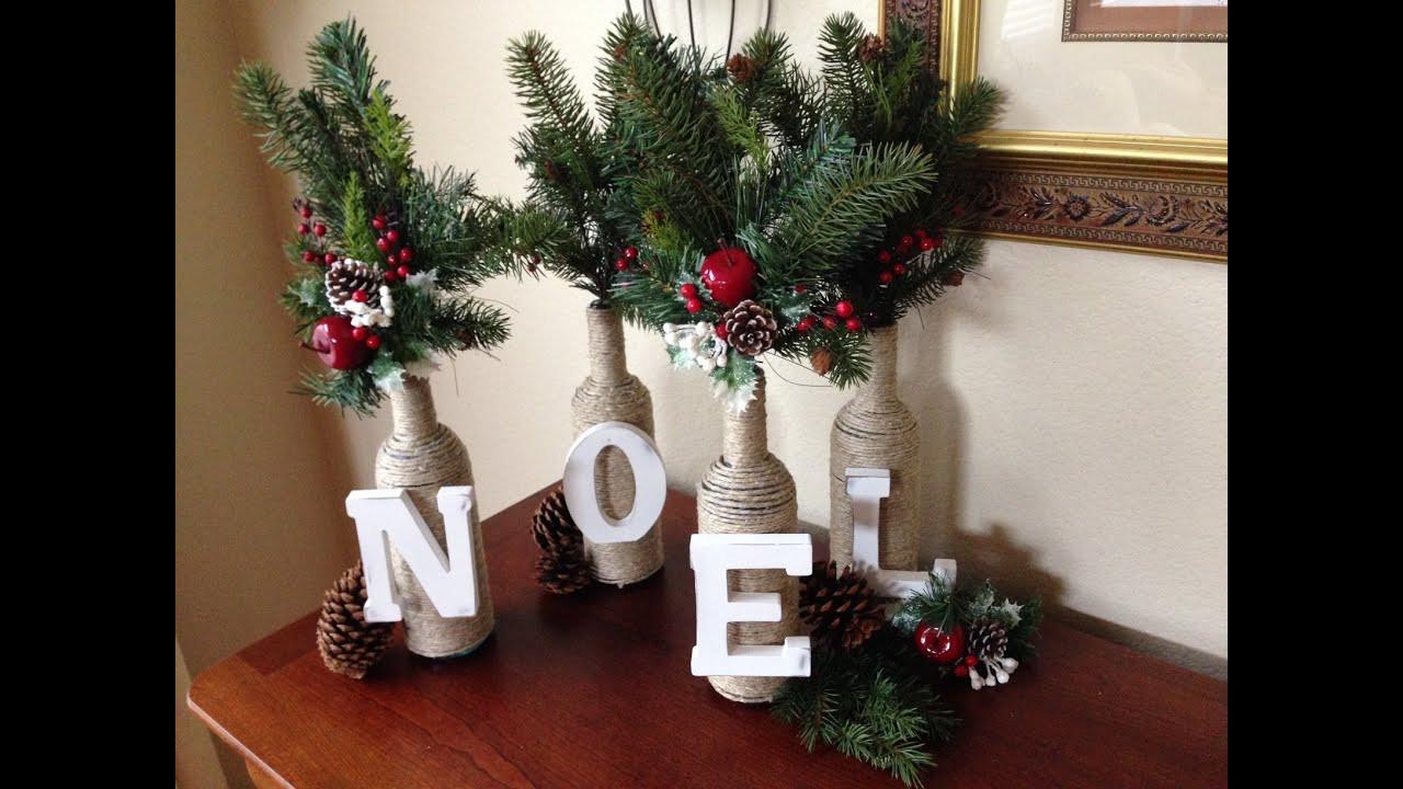 DIY Christmas Decorations  DIY Christmas Decor Letter & Twine Wine Bottles