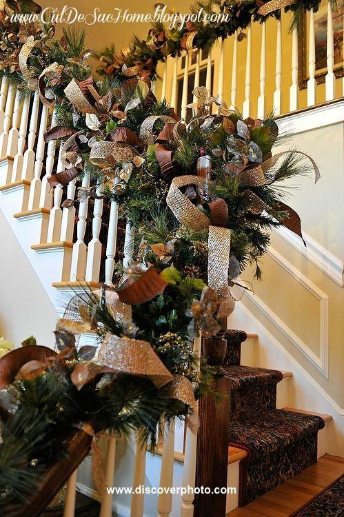 DIY Christmas Garland Ideas  117 best seasonal staircases images on Pinterest