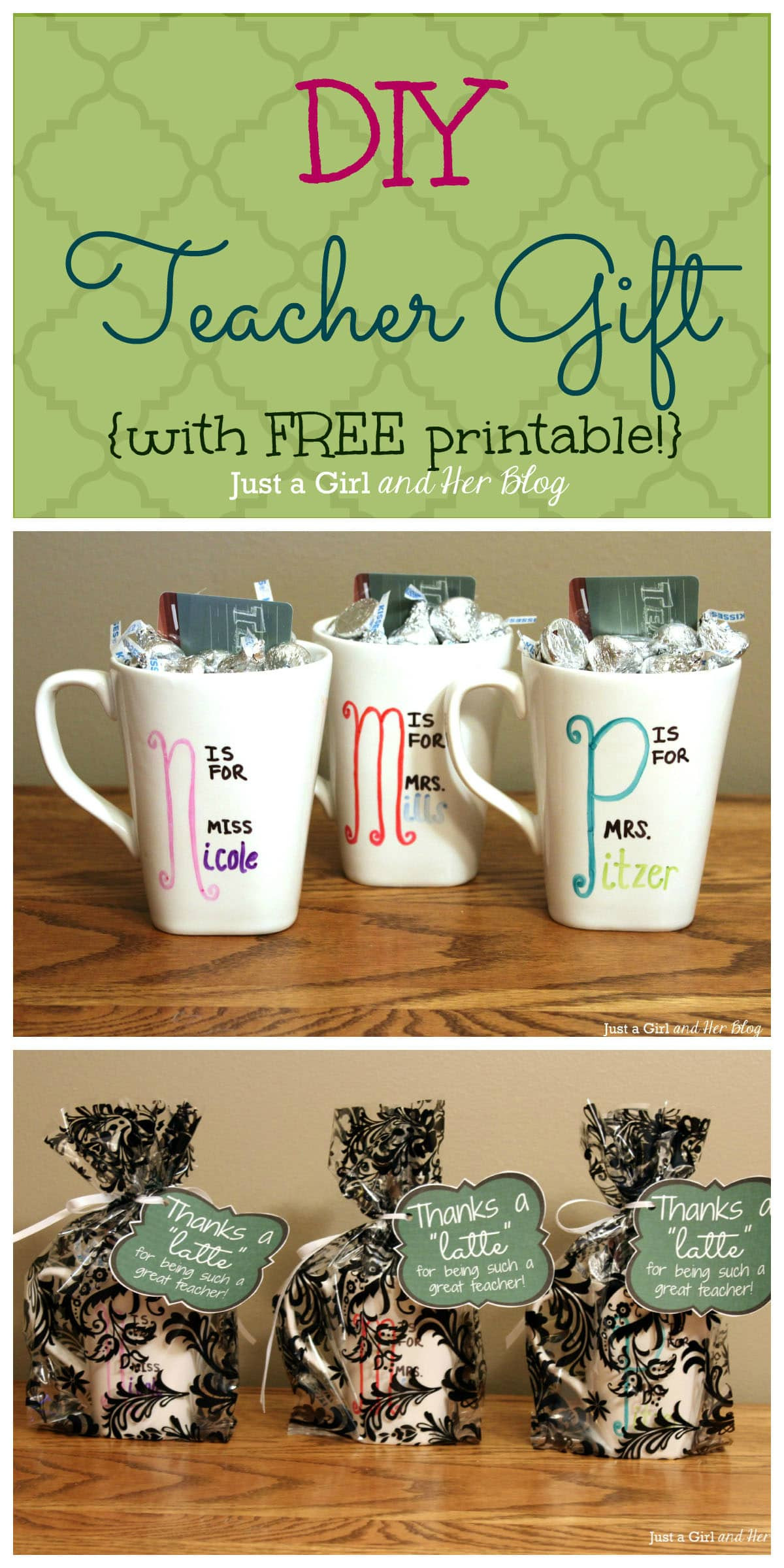 DIY Christmas Gift For Teachers  DIY Teacher Gift with FREE Printable