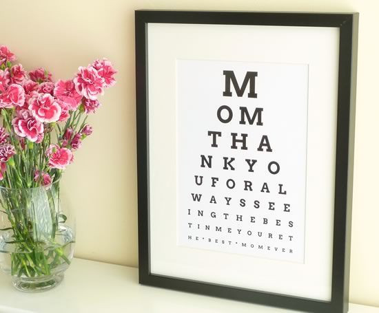 DIY Christmas Gifts For Mom  DIY Eye Chart Personalized Mothers Day Gift