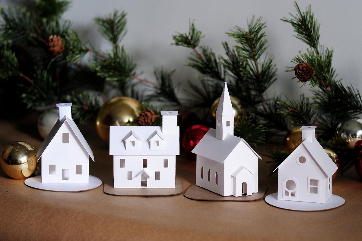 DIY Christmas Village  DIY Putz Village Ornament Kit of 4 Christmas Glitter House