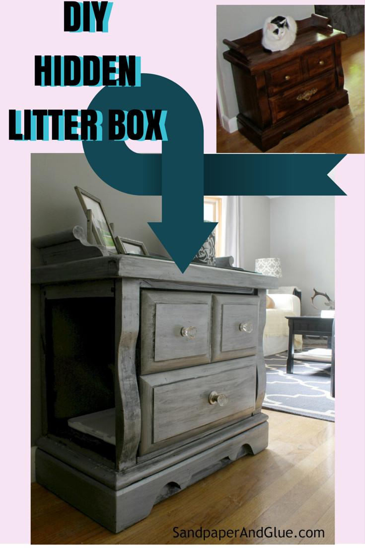DIY Hidden Cat Litter Box  DIY Hidden Litter Box from SandpaperAndGlue