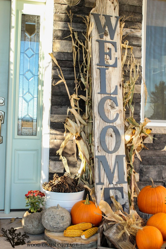 Diy Outdoor Fall Decor  Fall Porch and Diy Reclaimed Wood Wel e Sign Fox