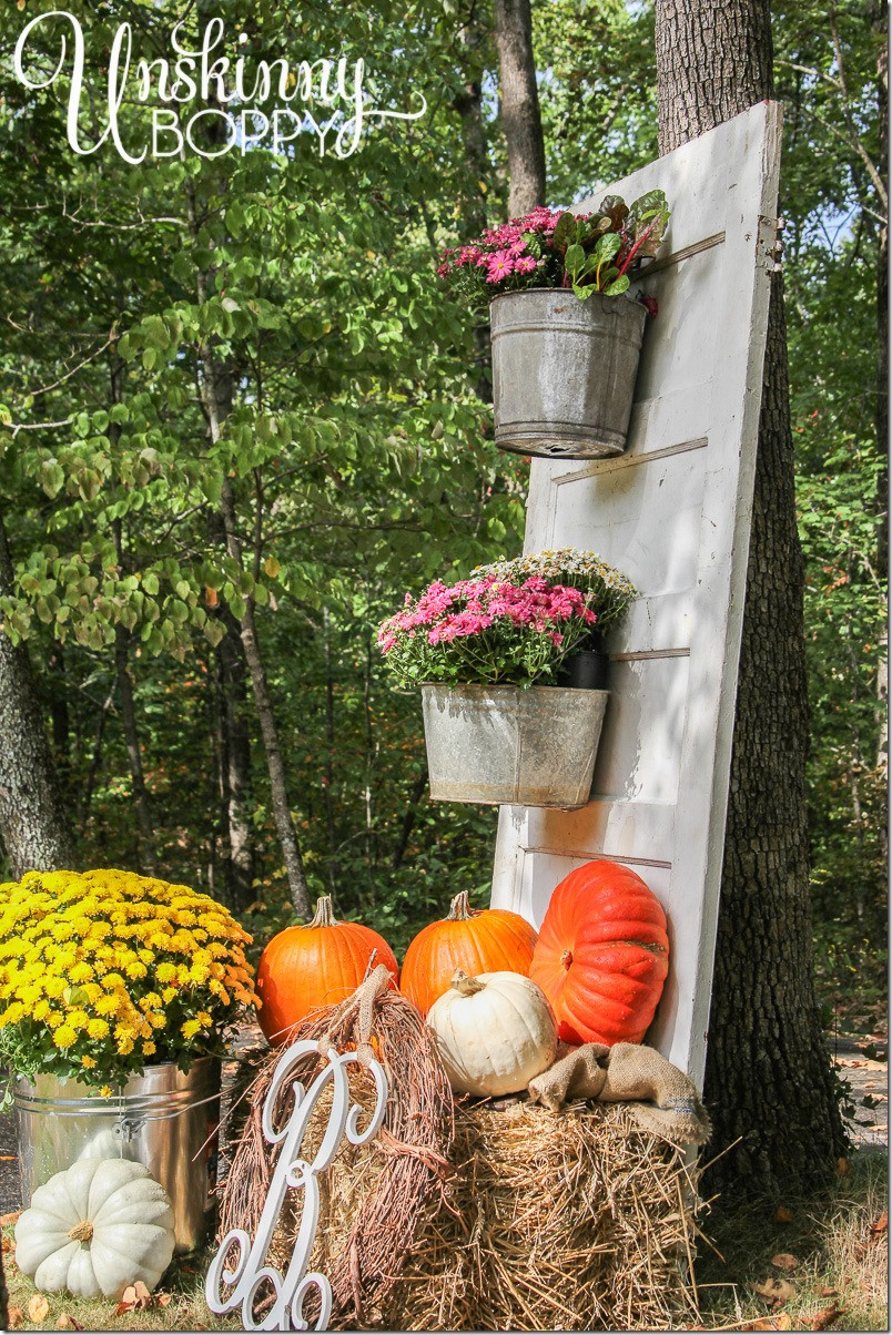 Diy Outdoor Fall Decor  Fall Porch Decor with Plants and Pumpkins Unskinny Boppy