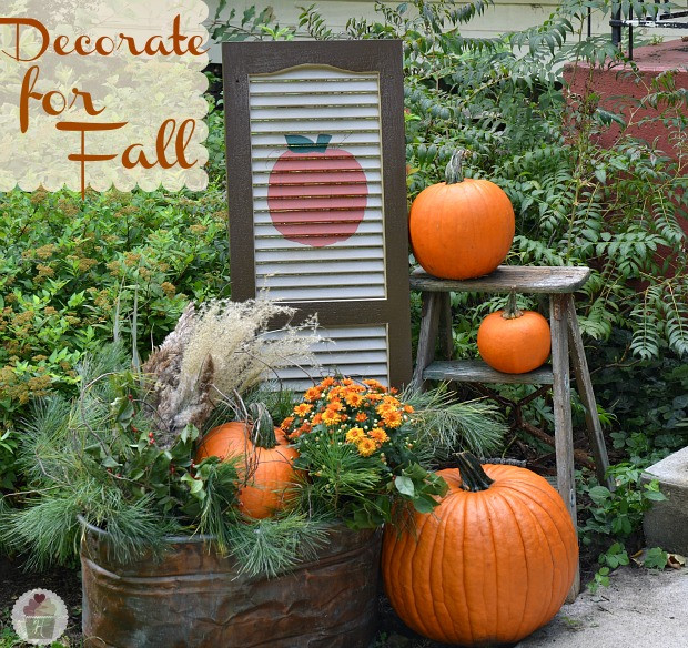 Diy Outdoor Fall Decor  Fall Outdoor Decorating DIY Painted Shutter Hoosier