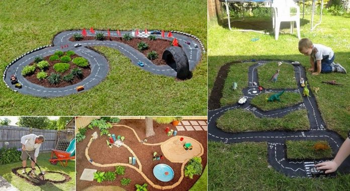 DIY Race Track  DIY Race Car Track Backyard Projects for Kids iCreatived