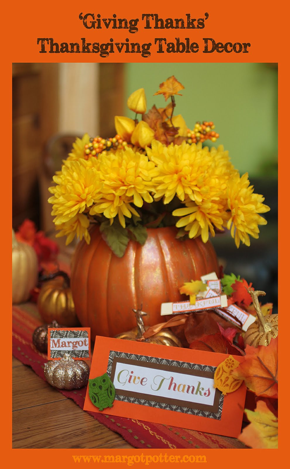 Diy Thanksgiving Table Decorations  iLoveToCreate Blog Giving Thanks DIY Thanksgiving Table Decor