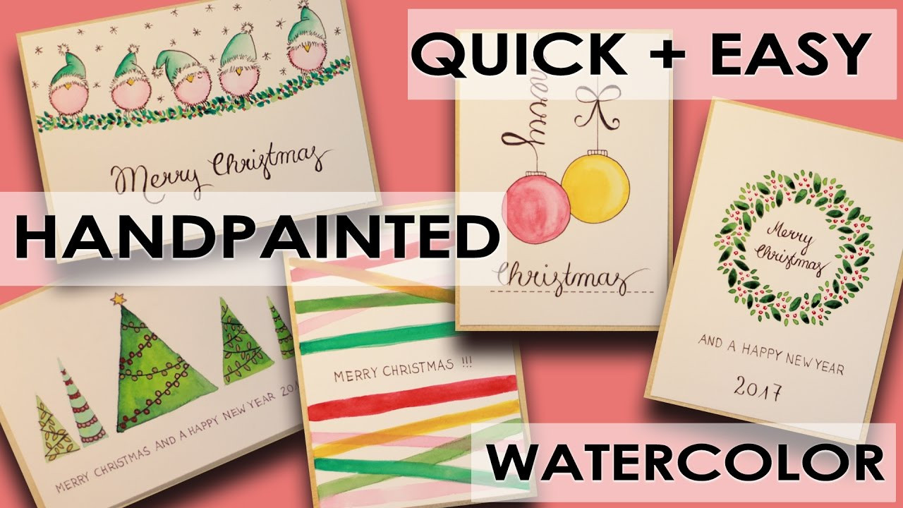 DIY Watercolor Christmas Cards  5 DIY Watercolor Christmas Cards Different Designs quick