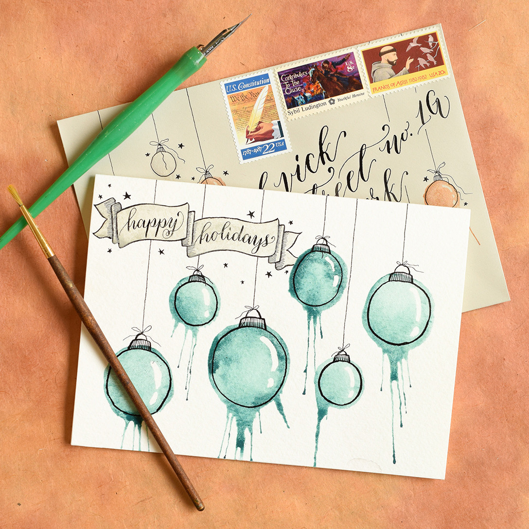 DIY Watercolor Christmas Cards  Artistic Ornaments Themed DIY Christmas Card Tutorial