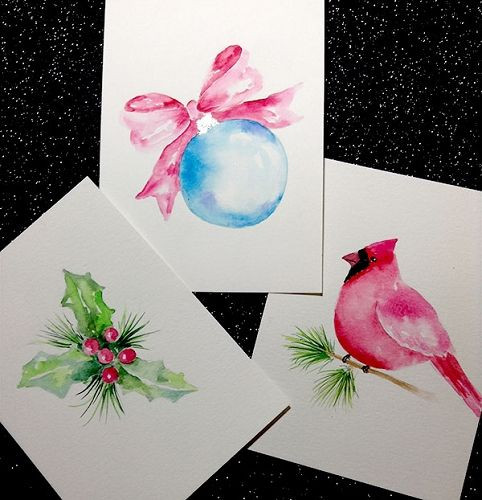 DIY Watercolor Christmas Cards  25 best ideas about Watercolor Christmas Cards on
