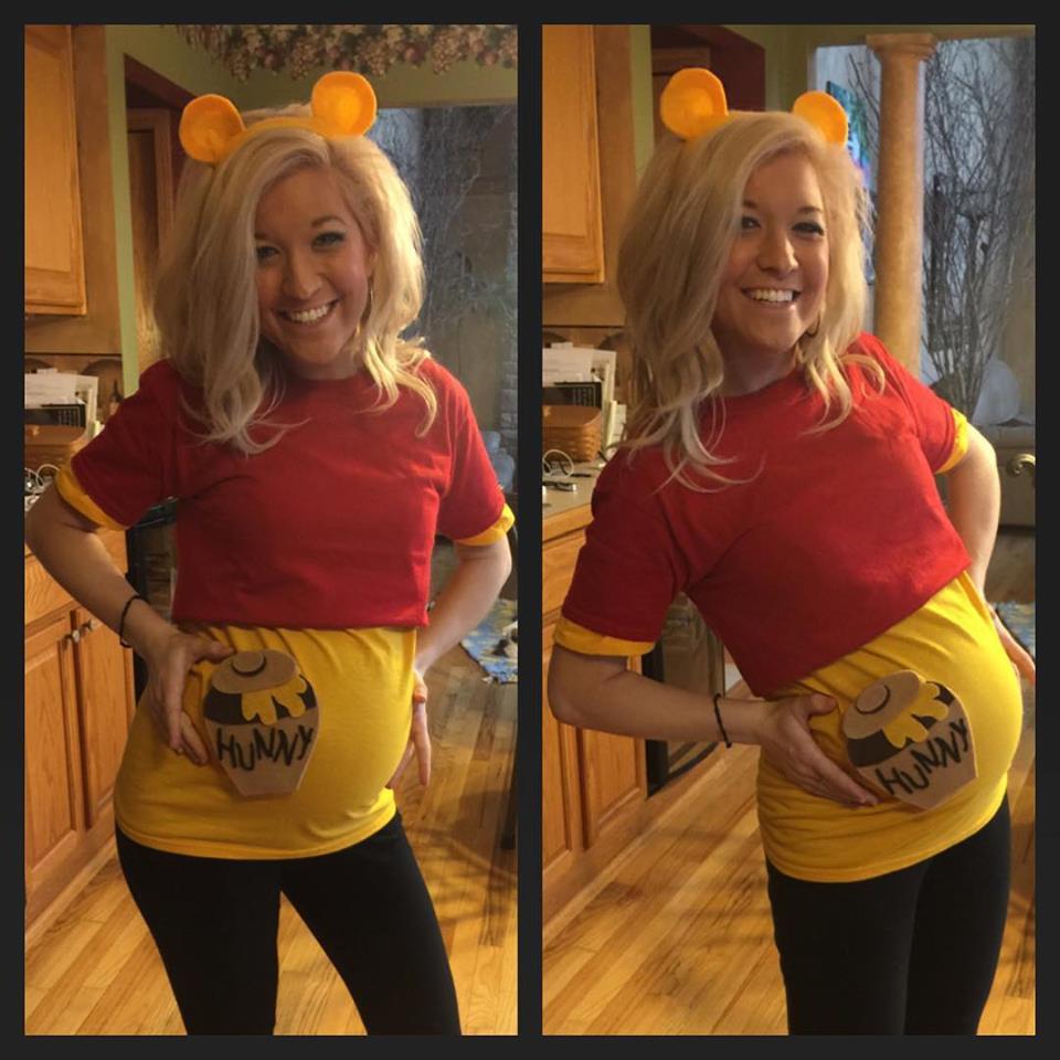 DIY Winnie The Pooh Costume  winnie the pooh pregnant costume halloween