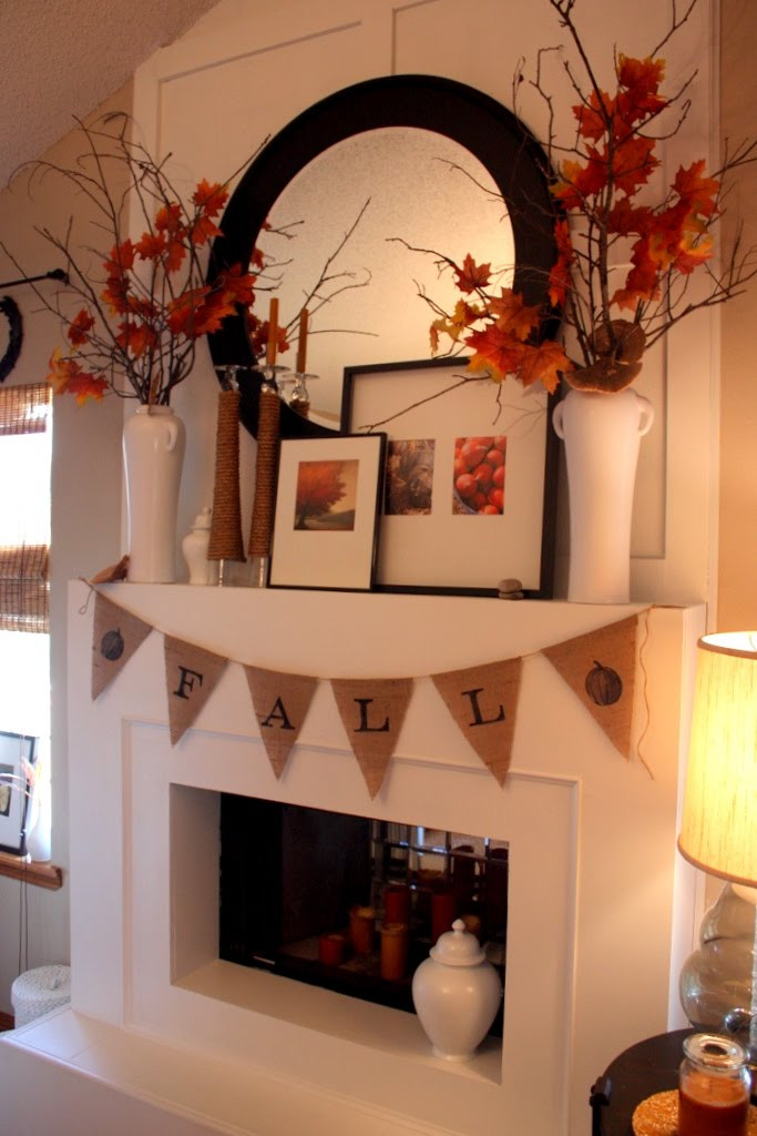 Fall Decor For Fireplace  Fall Mantel Ideas autumn mantle