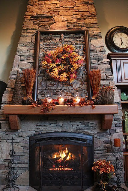 Fall Decor For Fireplace  Fireplace Decorating Ideas for Mantel and