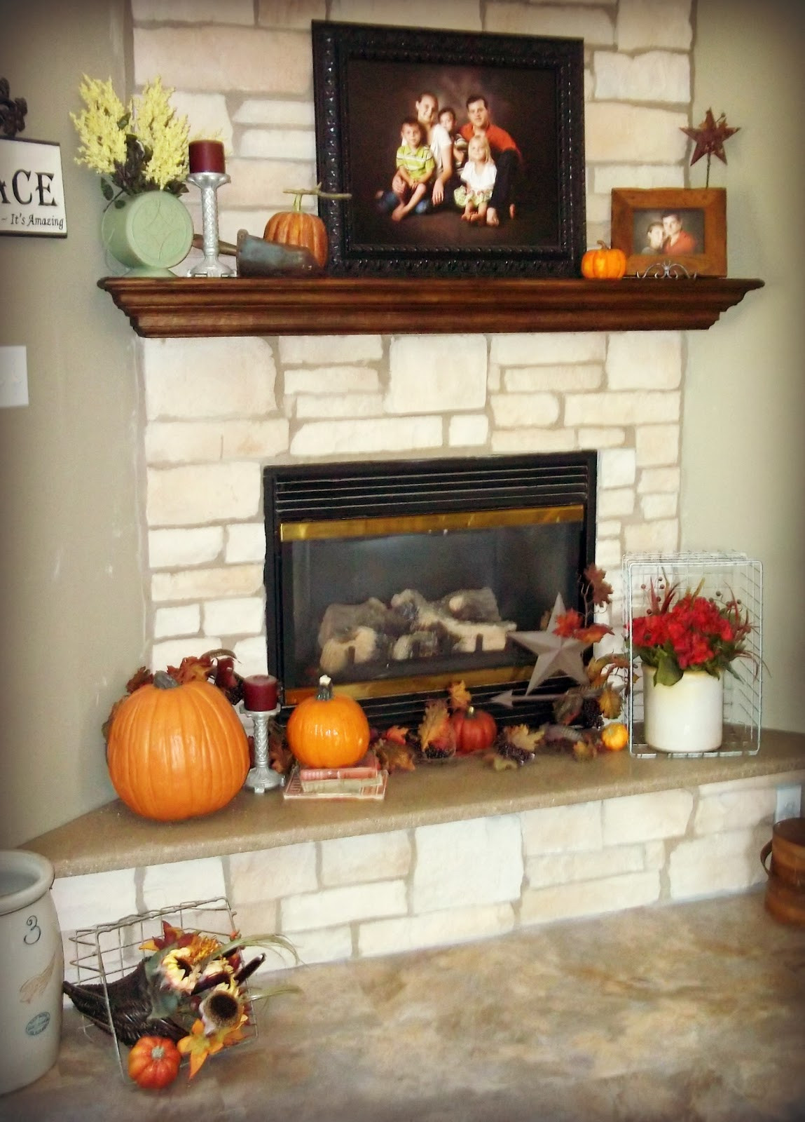 Fall Decor For Fireplace  Homesteading Wife Decorating For Fall