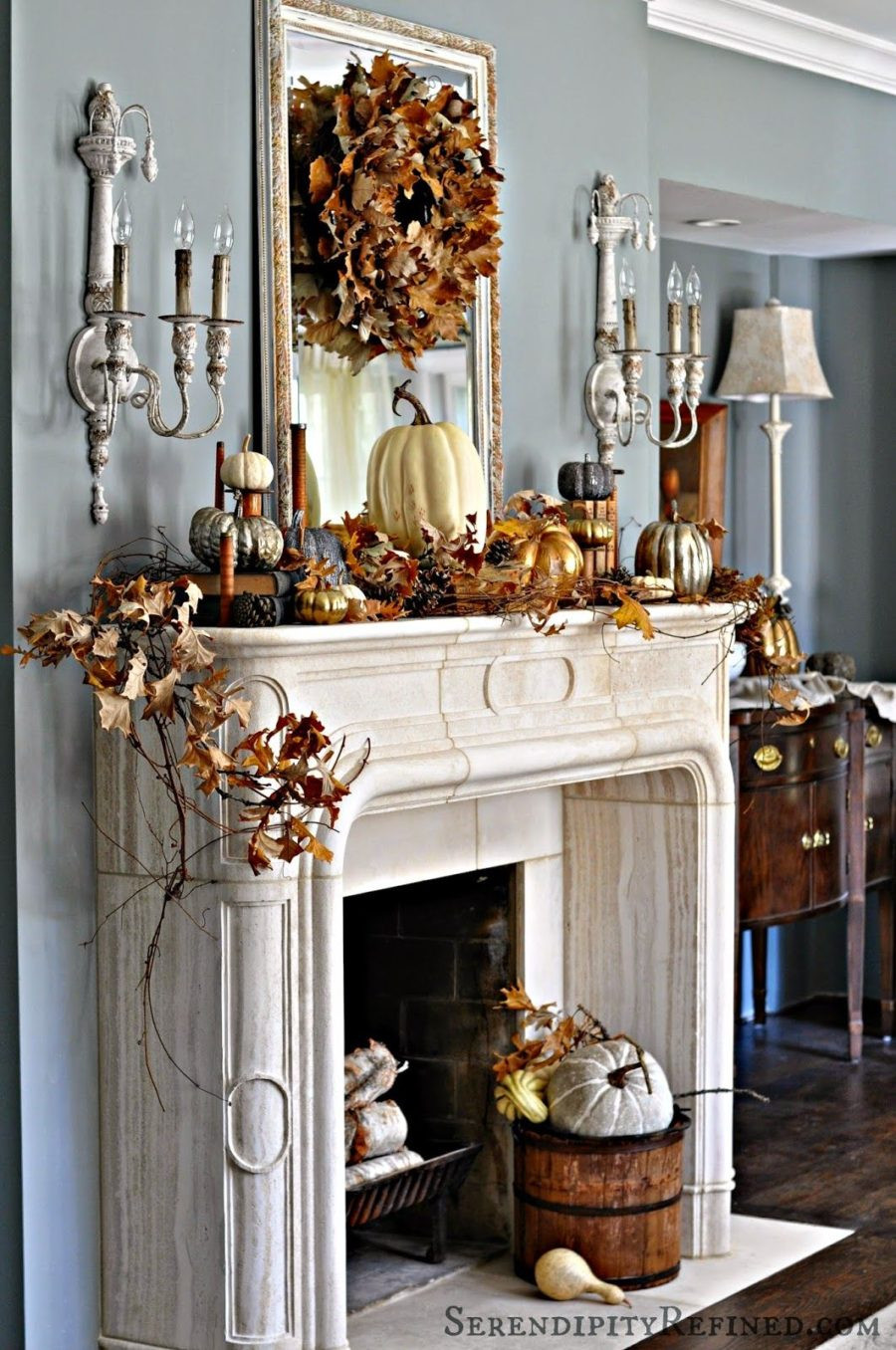 Fall Decor For Fireplace  15 Fall Decor Ideas for your Fireplace Mantle