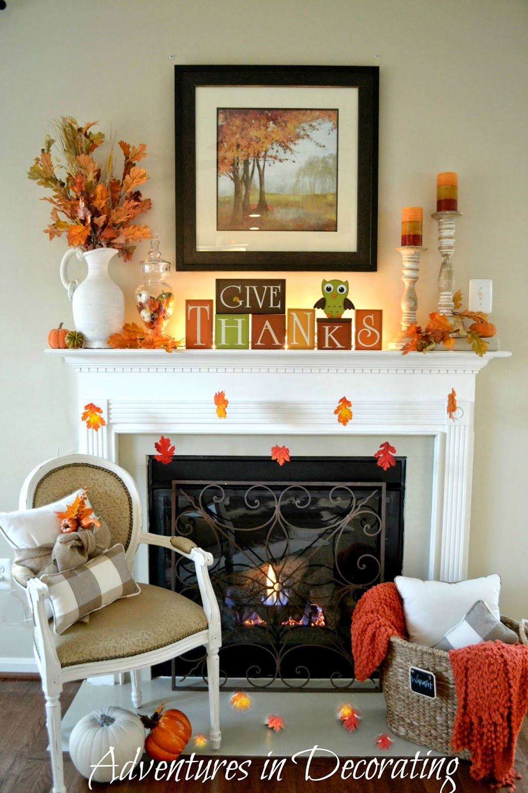 Fall Decor For Fireplace  Adventures in Decorating Our Simple Fall Mantel