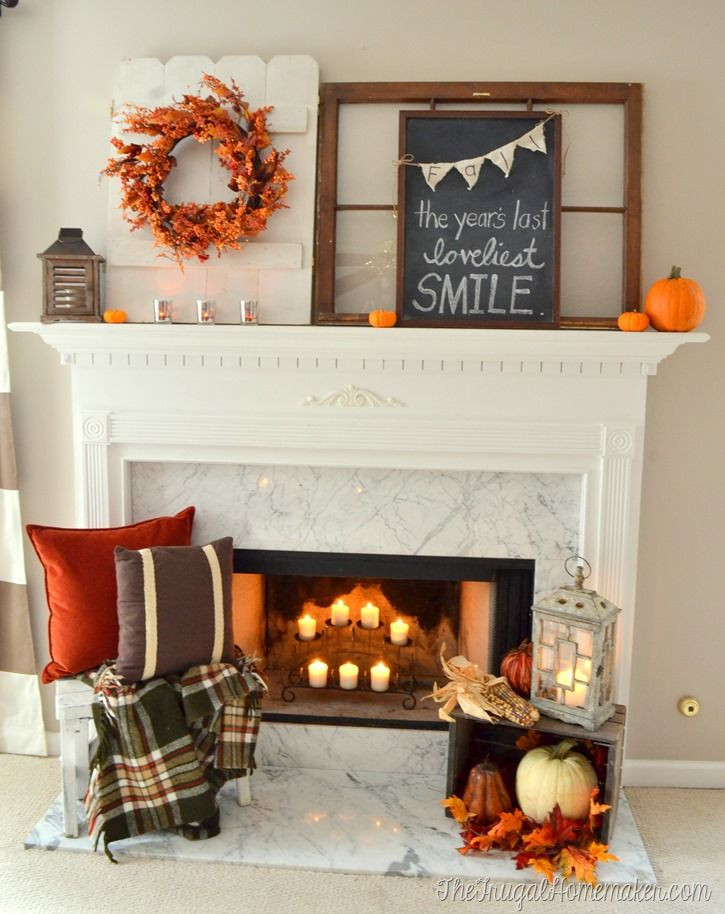 Fall Decor For Fireplace  17 Best ideas about Fall Fireplace Mantel on Pinterest