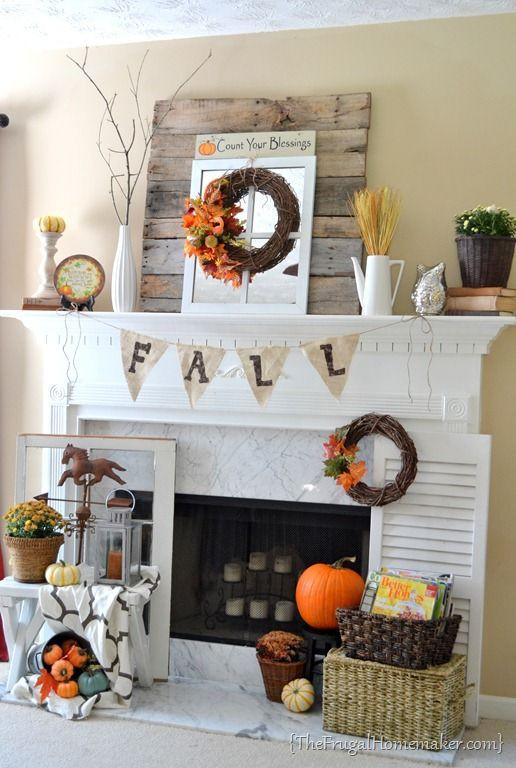 Fall Decor For Fireplace  Fireplace Fall Decor Idea