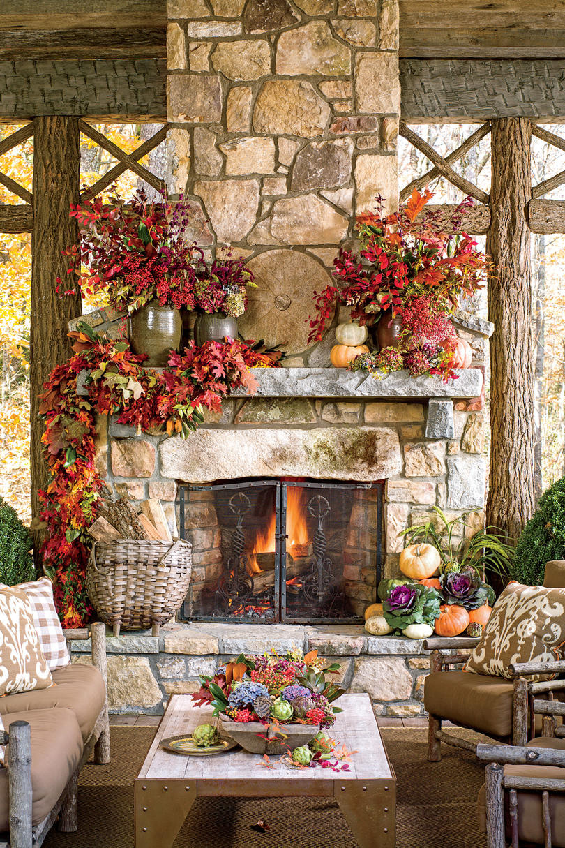 Fall Decor For Fireplace  25 Fall Mantel Decorating Ideas Southern Living