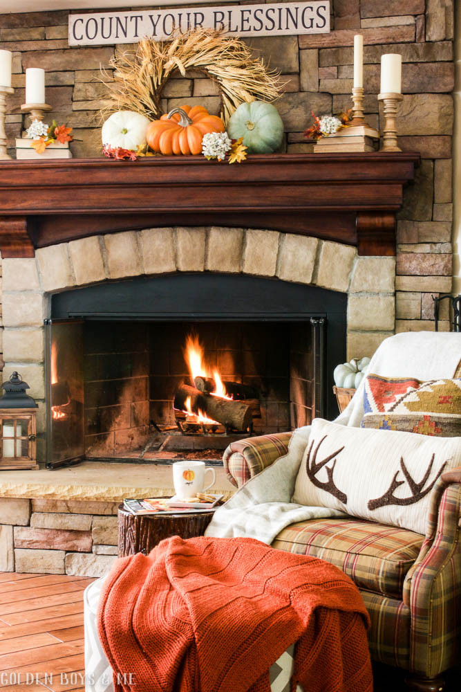 Fall Decor For Fireplace  Golden Boys and Me Fall Home Tour 2016 Family Room