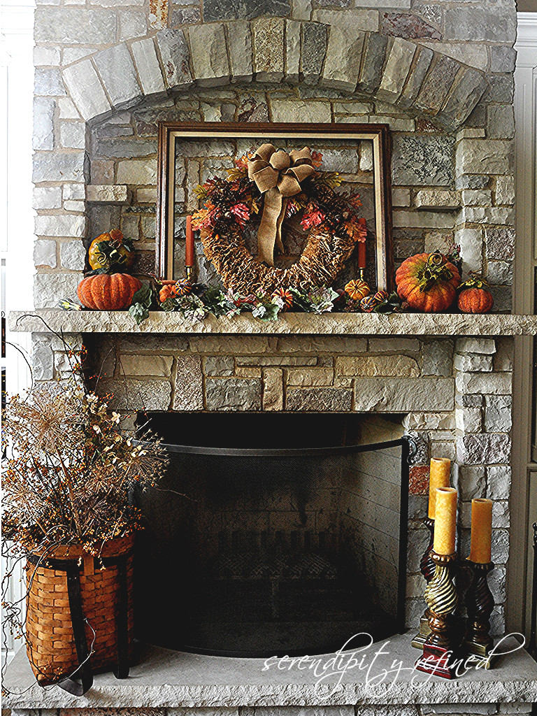 Fall Decor For Fireplace Mantel  Serendipity Refined Blog Fall Decorating Mantels and