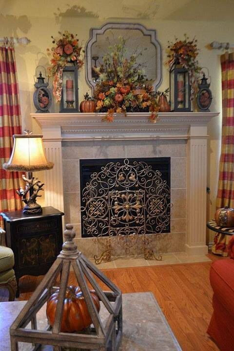 Fall Decor For Fireplace Mantel  104 best images about Fall Decor Ideas on Pinterest