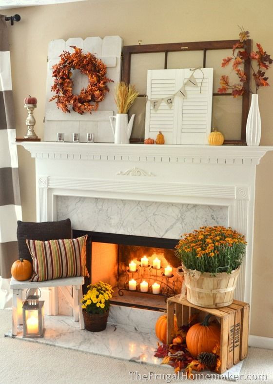 Fall Decor For Fireplace Mantel  Fall Decorating Inspiration For Your Mantel