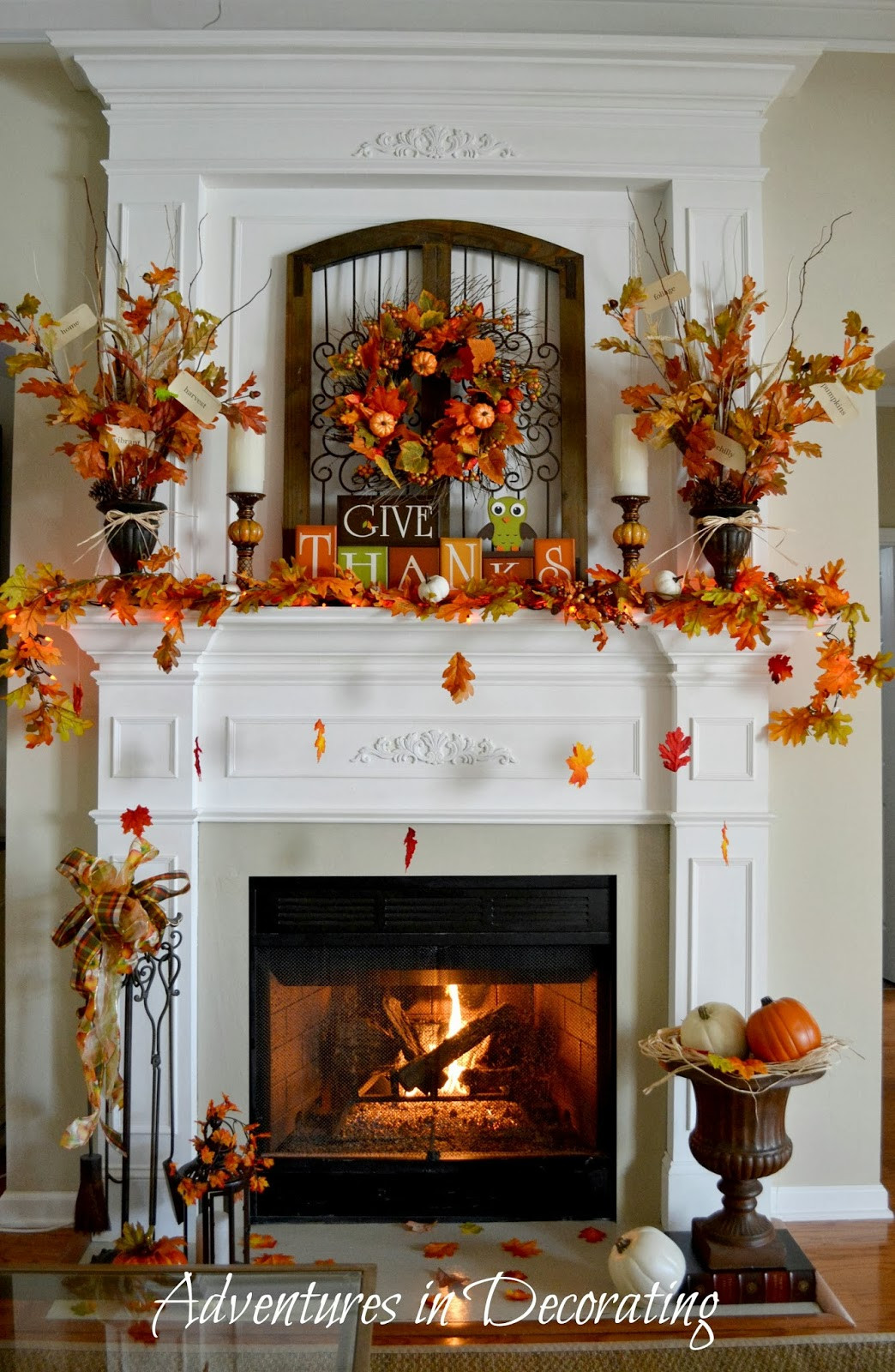 Fall Decor For Fireplace Mantel  Adventures in Decorating Our Fall Mantel