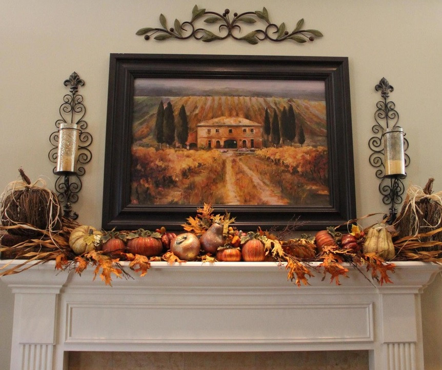 Fall Decor For Fireplace Mantel  Fireplace Mantel Decor Ideas for Decorating for Thanksgiving