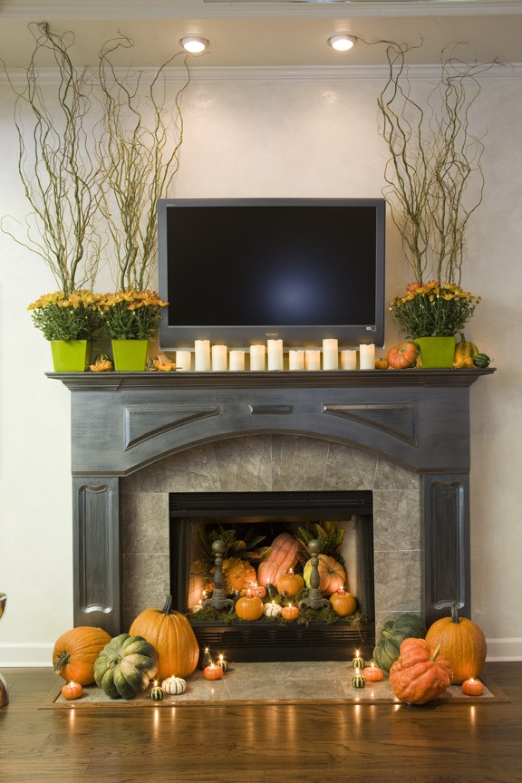 Fall Decor For Fireplace Mantel  Sure Fit Slipcovers Decorating With Pumpkins